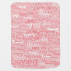 custom girl colour names, personalized pink baby blanket