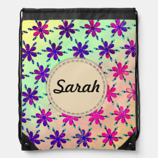 Custom Girls backpack flowers personalised name