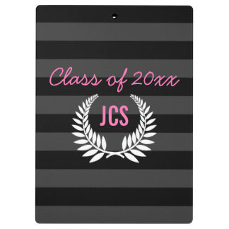 Custom Girls Graduation Party Black Pink Monogram Clipboards