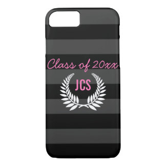 Custom Girls Graduation Party Black Pink Monogram iPhone 7 Case