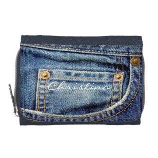 Custom girls name denim blue jeans pocket wallet