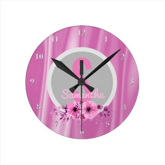 Custom Girls Name Girly Pink Flowers Satin Round Clock