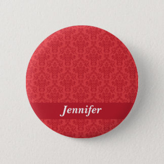 Custom girls name red luxury damask button pin