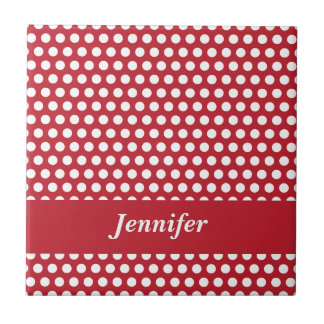 Custom girls name red & white polka dots tile
