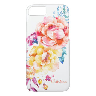 Custom Girly Chic Coral Pretty Watercolor Floral iPhone 8/7 Case