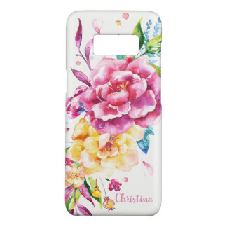 Custom Girly Chic Pink Pretty Watercolor Floral Case-Mate Samsung Galaxy S8 Case