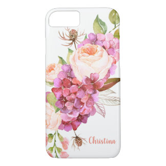 Custom Girly Chic Pink Pretty Watercolor Floral iPhone 8/7 Case