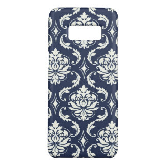Custom Girly Chic Vintage Navy Blue Damask Pattern Case-Mate Samsung Galaxy S8 Case
