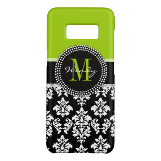 Custom Girly Green Black Damask Pattern Monogram Case-Mate Samsung Galaxy S8 Case