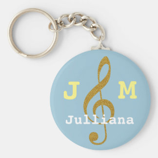 custom girly musical treble clef keychain