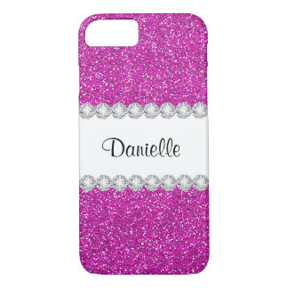 Custom Girly Pink Glitter Case-Mate iPhone 7 Case