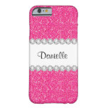 Custom Girly Pink Glitter Sparkles iPhone 6 Case Barely There iPhone 6 Case