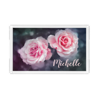 Custom Girly Pink Roses Floral Photo Acrylic Tray
