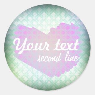 Custom Girly sky-blue pastel pattern pink heart Round Sticker