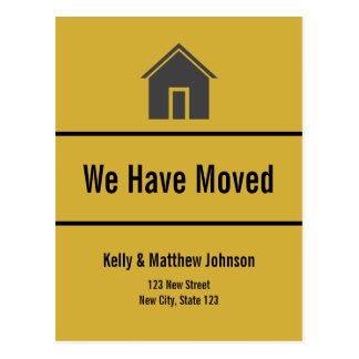 Custom Gold and Black Moving Announcement Postcard