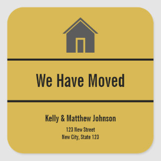 Custom Gold and Black Moving Announcement Sticker