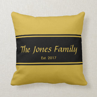 Custom Gold and Black Welcome Pillow
