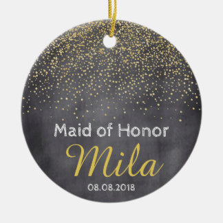 Custom Gold Chalkboard Confetti Wedding Favor Ceramic Ornament