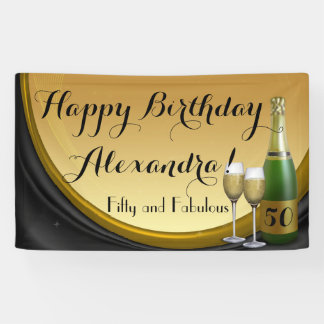 Custom Gold Champagne 50th Birthday Party Banner