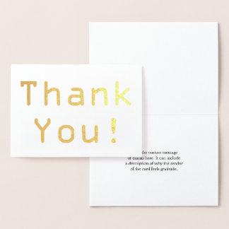 "Custom Gold Foil ""Thank You!"" Card"