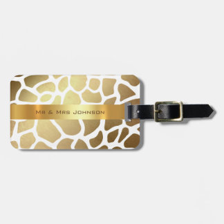 Custom Gold Giraffe Lampart Skin Luggage Luggage Tag
