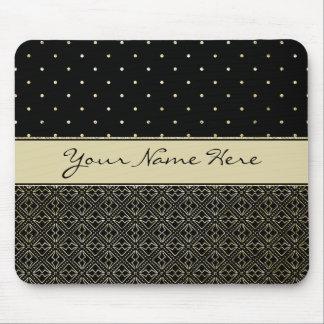 Custom Gold Glitter Polka Dots & Geometric Pattern Mouse Pad
