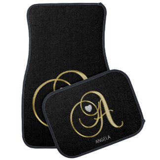 Custom Gold Monogram Letter 'A' Diamond Heart Car Mat