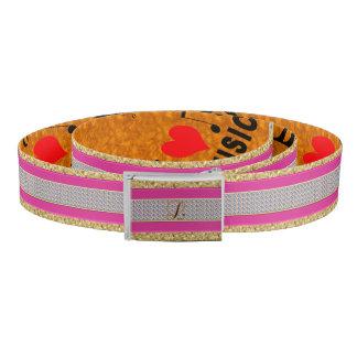 Custom Gold Pink Diamond Monogram M Belt