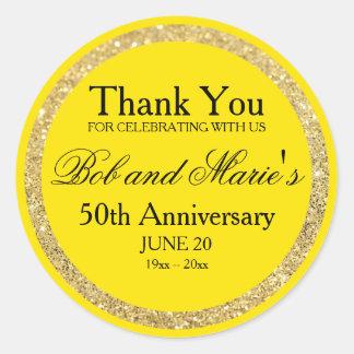 Custom Gold & Yellow 50th Anniversary Thank You Classic Round Sticker