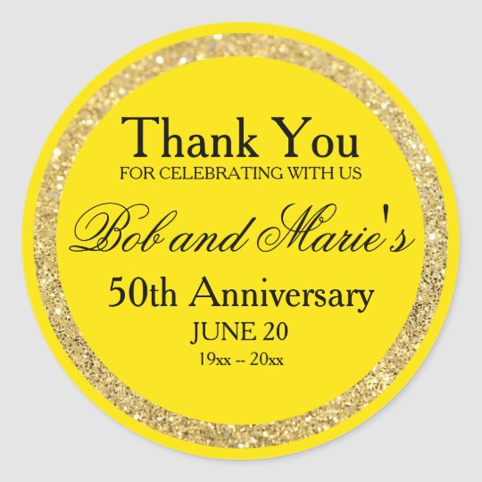 Custom Gold & Yellow 50th Anniversary Thank You Classic Round Sticker