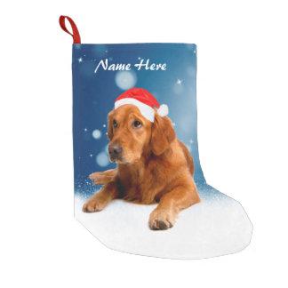 Custom Golden Retriever Dog Snow Stars Blue sky Small Christmas Stocking