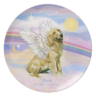 CUSTOM - Golden Retriever ZACK in Heaven's Clouds Plate