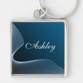 Custom gradient blue and curve Silver-Colored square keychain