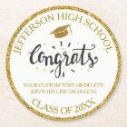 Custom Graduation Congrats Grad Gold Class of 2018 Round Paper Coaster