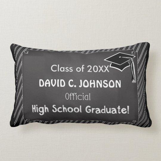Custom Graduation Congratulations Chalkboard Look Lumbar Pillow
