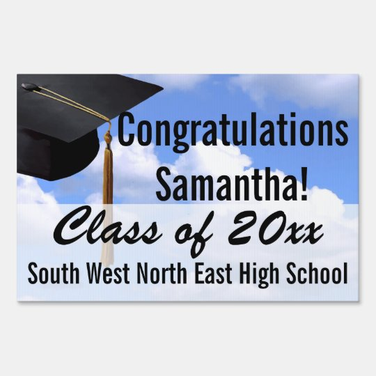 Custom Graduation Yard Sign, Blue Sky Banner Sign