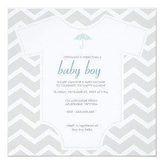 Custom gray chevron shirt baby shower card