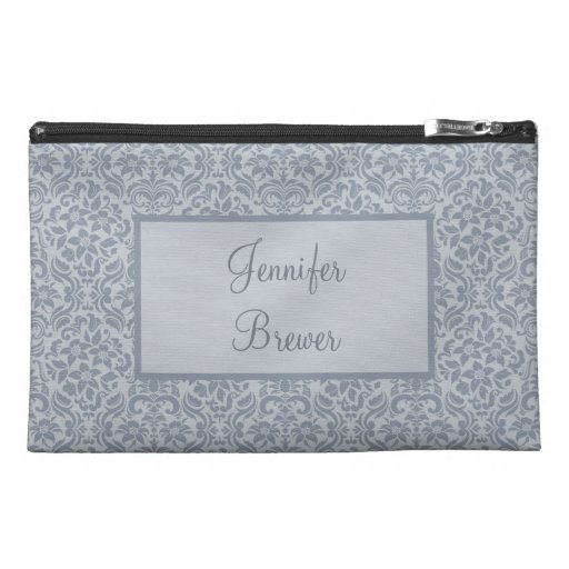 Custom Gray Damask Accessory, Coin or Makeup Bag Travel Accessories Bag