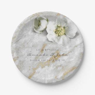Custom Gray Marble Gold Glitter White Real Flower Paper Plate