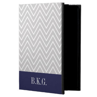 Custom Gray Navy Chevron Pattern Monogram Case For iPad Air