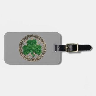 Custom Gray Shamrock And Celtic Knots Luggage Tag