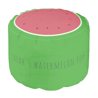 Custom Green and Pink Watermelon Round Pouf
