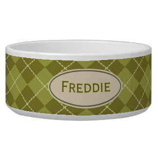 Custom Green Argyle Pet Bowl