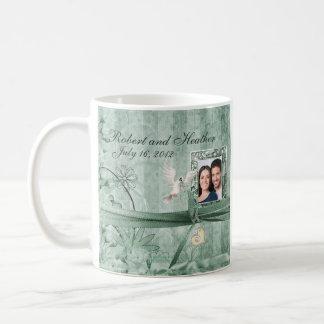 Custom Green Floral Photo Wedding Mug
