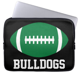 Custom Green Football Team, Player or Coach Laptop Laptop Sleeve