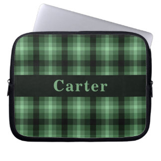 Custom Green Monochrome Plaid Laptop Sleeve