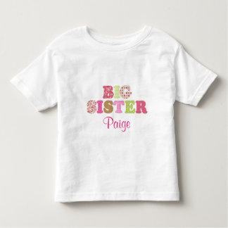 Custom Green & Pink Big Sister Shirt
