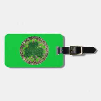 Custom Green Shamrock Celtic Knots Luggage Tag