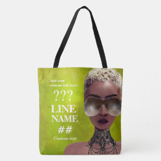 Custom Green Sorority Black Art Tote Bag