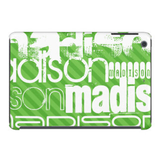 Custom Green Stripes & White Custom Name Pattern iPad Mini Retina Case